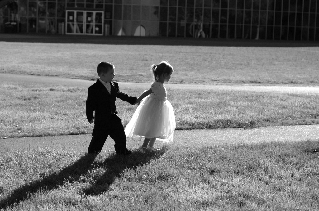 Children in Wedding Party - Black and White - Outdoors